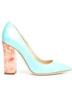 Shop POLLINI  Patent Leather Pumps with Marbled Heel from Farfetch