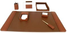 upto 65% off  Tan Brown Leather 7 Piece Desk Set --  Top Grain Leather Desk Sets, Desk Organizer, Leather pen holder, Leather Desk pad, Leather memo holder     http://woodartsuniverse.com/catalog/product_info.php?cPath=42&products_id=196