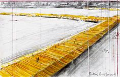 From June 18 to July 3, 2016, Christo will reimagine Italy's Lake Iseo. The Floating Piers will consist of 70,000 square meters of shimmering yellow fabric, carried by a modular dock system of 200,000 high-density polyethylene cubes floating on the surface of the water.