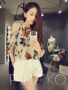 Korean fashion style rose off shoulder puff sleeve chiffon top