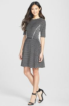 fffb079fae Gabby Skye Stripe Fit  amp  Flare Dress available at  Nordstrom Fit Flare  Dress