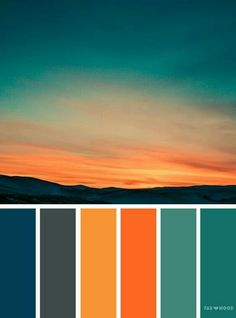 Orange teal sky inspired color palette ,landscape color scheme - - Orange teal sky inspired color palette A pretty colour palette. To get you started on your own palette, we've created over 100 beautiful colour palettes. Orange Color Palettes, Color Schemes Colour Palettes, Colour Pallette, Bedroom Color Schemes, Orange Palette, Orange Color Schemes, Sunset Color Palette, Autumn Color Palette, Orange Paint Colors