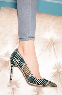 Manolo Blahnik plaid pumps - I am totally crushing over these shoes.