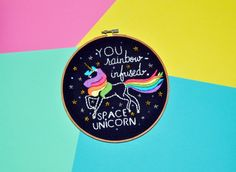 Unicorn Embroidery Hoop // Galentine's Day Gift - Leslie Knope Ann Perkins Compliment - Rainbow-Infused Space Unicorn - Wall Art by dcbijou on Etsy https://www.etsy.com/listing/267752468/unicorn-embroidery-hoop-galentines-day