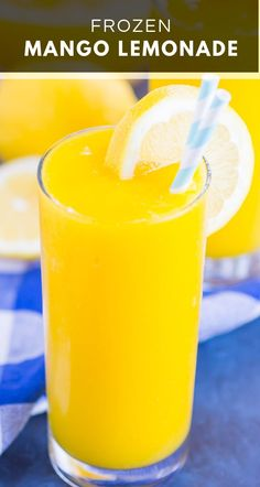 Frozen Mango Lemonade is a delicious way to beat the summer heat. With just four ingredients and ready in less than 5 minutes, you'll love the cool and creamy flavor of sweet mango and tart lemons! Frozen Lemonade Pie, Mango Lemonade, Frozen Drinks, Strawberry Lemonade, Homemade Lemonade, Homemade Ice, Easy Drink Recipes, Mango Recipes, Summer Recipes