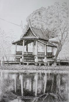 Fountain pen on paper. Landscape Sketch, Paper Size, Fountain Pen, Pavilion, Painting, Art, Art Background, Gazebo, Painting Art