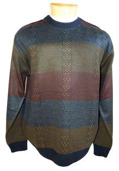 Marcello Sport Men's Lightweight extra fine Italian wool Men's sweater horizontal stripes.