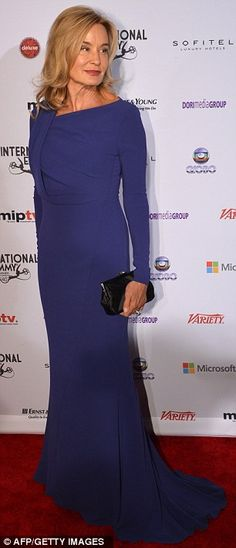 Jessica Lange - love the subtle drape on this blue dress