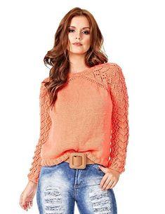 Эффектный вязаный пуловер