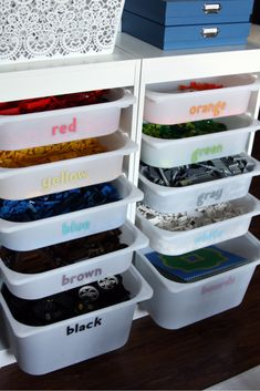 Organizing Legos: Part 3 - Creating Organized Lego Storage --- But really- this might be the dumbest idea - exactly how long will my kids keep their legos COLOR sorted??  hahahahaha -- I seriously doubt it - I'd be happy if they'd keep them out of the vacuum cleaner.