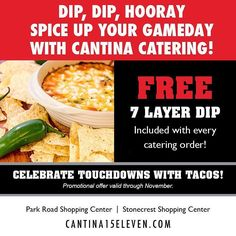 Now through November we are throwing in a #FREE #SevenLayerDip with every #Catering Order. Making #officelunches and #Tailgating parties even more delicious since 2004. Contact one of our catering coordinators today.