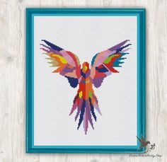 Parrot Cross Stitch Pattern abstract par CrossStitchHobbyShop