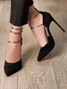 Sexy Black Ankle Strap Stiletto Heels Zapatos Shoes, Shoes Heels, Stiletto Heels, Shoe Boots, Gold Heels, Black Heels, Stilettos, Pointed Heels, Sexy Heels