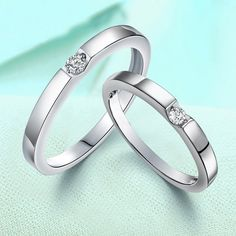 Rhinestone 925 Silver Couples Rings