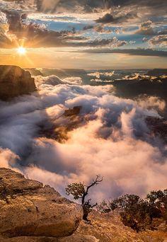 Clouds fill the South Rim, Grand Canyon AZ