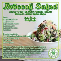 Broccoli salad- put in less sugar Healthy Eating Recipes, Healthy Meal Prep, Healthy Snacks, Cooking Recipes, Healty Meals, Cooking Food, Broccoli Salad, Food Facts, Salad Recipes