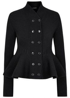 Black chunky-knit peplum wool jacket - New In - Women