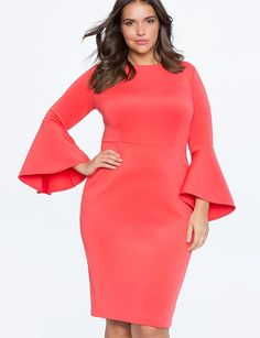 Love Eloquii for plus sizes & this  Studio Flare Sleeve Dress in CORAL is stunning