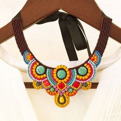 African jewelry for women Bead embroidered bib necklaces Fashion multicolor tribal accessory Colorful beaded collar necklace mexican style by BusikoUA on Etsy Collar Diy, Beaded Collar, Collar Necklace, Crochet Necklace, Beaded Necklace, Bib Necklaces, Steampunk Necklace, Steampunk Diy, Promise Necklace