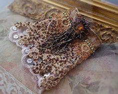 Beaded tassel lace wrist cuff bracelet,  Boho chic cuff, shabby chic cuff…