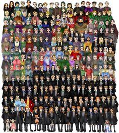 rom bottom to top, left to right:    Row 1: Zacharias Smith, Pansy Parkinson, Kreacher, Winky Seamus Finnegan, Dean Thomas, Luna Lovegood, Hermione Granger, Crookshanks, Ronald Weasley, Harry Potter, Ginny Weasley, Draco Malfoy, Lavender Brown, Angelina Johnson, George Weasley, Fred Weasley, Lee Jordan, Cho Chang, Marietta Edgecomb, Neville Longbottom, Trevor, Dobby, Padma Patil, Parvati Patil.    Row 2: Vincent Crabbe, Gregory Goyle, Fleur Delacour, Gabrielle Delacour, Viktor Krum, Blaise…