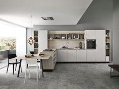 Einbauküche mit Griffe ARIEL - COMPOSITION 1 by Cesar Arredamenti Design Gian Vittorio Plazzogna