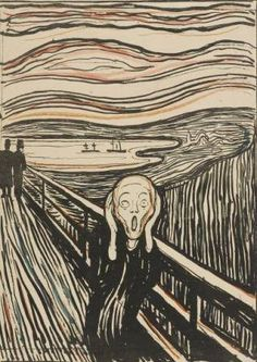 1.Edvard Munch The Scream 1895 Hand-coloured lithograph Courtesy the Gundersen Collection, Oslo © Munch Museum, Oslo