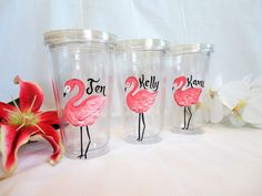 "BACHELORETTE PARTY - Personalized ""Flamingo"" Hand Painted Clear Acrylic Tumblers…"