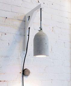 Basteln mit Beton – kreative Ideen zum selber machen tinker with concrete cool pendant lamp white made of concrete tinker Concrete Crafts, Concrete Projects, Diy Projects, Project Ideas, Concrete Light, Concrete Lamp, Diy Luz, Diy Luminaire, Ideias Diy