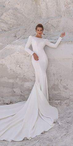 33 Cute Modest Wedding Dresses To Inspire ❤ modest wedding dresses sheath simple with long sleeves train elenamorar #weddingforward #wedding #bride