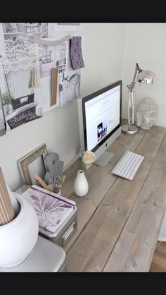 White Office Decor - beautiful wood desk - great for every home and office. Home Office Space, Home Office Design, Office Decor, Desk Space, Office Ideas, Desk Ideas, Office Designs, Closet Office, Office Workspace