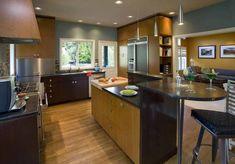 Attractive Grey Walls Kitchen for Modern Kitchen with Unique Island on Laminated Hardwood Flooring