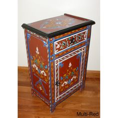 Handpainted Multicolor Dynasty Wooden End Table (Morocco)