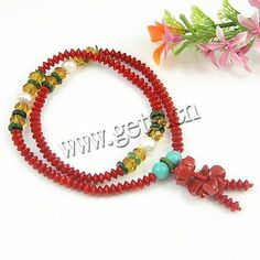 Natural Coral Bracelets, with turquoise & Crystal, red, 5x6mm, 5x2mm, Length:14 Inch, Sold By Strand