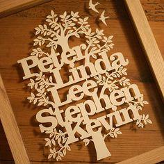 personalized family tree papercut