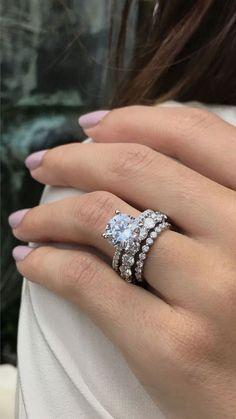 solitaire engagement ring, solitaire engagement ring round, 3ct engagement ring, eternity band, stacked wedding ring, Armentor Jewelers #EngagementRings