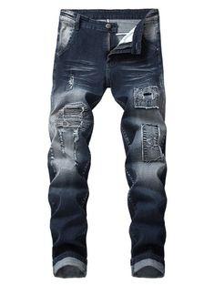 Solid Skinny Ripped Denim Heren Bretels Broeken & Jeans Jumpsuit voor Heren