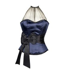 Blue Overbust Corset with Black Sash