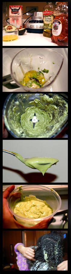 "Deep Conditioning Treatment - STOP breakage and promote long, healthy hair!!!!!!!    1 ripe avocado  1/4 cup coconut milk  1/4 cup extra virgin olive oil  1/4 cup honey  1 egg yolk    Combine ingredients in blender. Set to ""puree"" and blend until it has the consistency of lotion. Apply to entire head--root to ends. Sit under dryer for 20 minutes or longer with a cap. Rinse.    For best results, repeat the same routine once a week or whenever you wash your hair!"