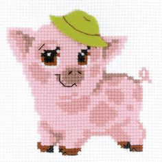 Riolis-Piglet Counted Cross Stitch Kit. Express your love for arts and crafts with these beautiful cross stitch kits! Find a themed kit for any taste! This package contains 10 count color Zweigart Aid