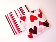 Hearts and Stripes Pink Coaster Set by rusticpatriotgirl on Etsy, $9.50  Sweetly seasonal