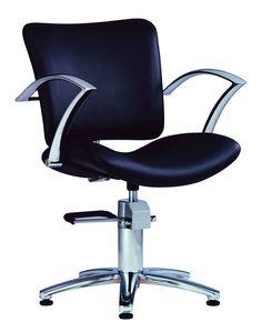 Black Hairstylist stool. Hydraulic height adjustable lift