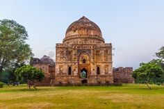Lodi Gardens  Islamic Tomb  Bara Gumbad  set in landscaped gardens  15th Century AD  New Delhi, India  Stock Photo