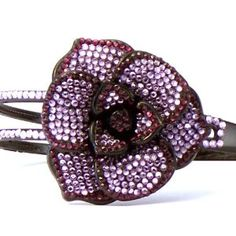 Bling Bling! Flower Headband with Purple Rhinestones. Perfect for Women, Teens & Girls, Bling Bling Hair Accessory