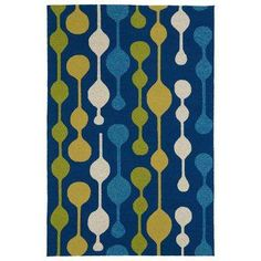 Home and Porch Blue 3 ft. x 5 ft. Indoor/Outdoor Area Rug