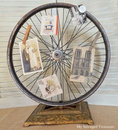 Repurposed Bicycle Wheel and Cast Iron Lamp Base Bicycle Rims, Bicycle Wheel, Bike Wheels, Bicycle Art, Mandala Design, Happy Friday, Floor Lamp Base, Picture Holders, Photo Holders