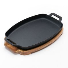 Love this Pre-Seasoned Cast-Iron Sizzle Pan Set from the Food Network.  Just the perfect size and the wood board is great for carrying it or setting it on the table when it's hot.  We take this one along camping too!