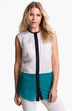 MICHAEL Michael Kors Colorblock Linen & Chiffon Blouse available at #Nordstrom. Awesome color blocking and mixed media.