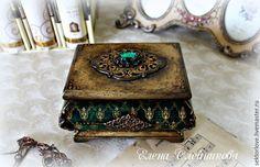 Купить шкатулка старое золото.Р. - зеленый, шкатулка для украшений, шкатулка декупаж, шкатулка для мелочей