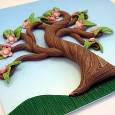 Spring Fairy Tree Polymer Clay Relief Sculpture Wall Hanging AC042